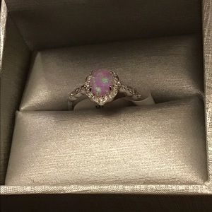 NWT. Baby pink fire opal and white topaz. Size 9